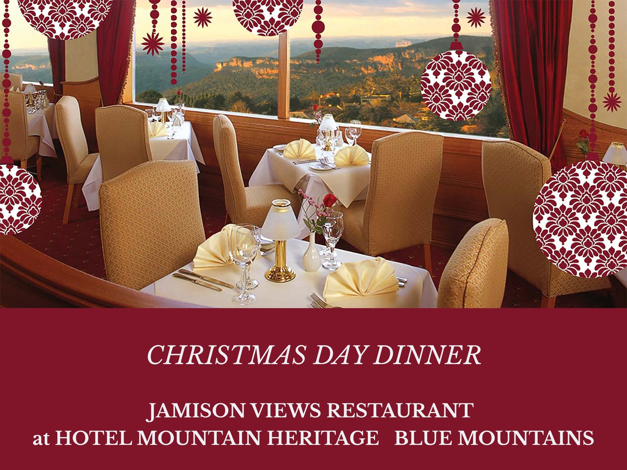 Christmas Day Dinner Hotel Mountain Heritage - Foster Accommodation